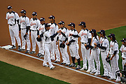LOS ANGELES, CA - MARCH 22: Members of Japan participate in player introductions as they get ready to play against USA in game two of the semifinal round of the 2009 World Baseball Classic at Dodger Stadium in Los Angeles, California on Sunday March 22, 2009. Japan defeated USA 9-4. (Photo by Paul Spinelli/WBCI/MLB Photos)