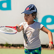 August 23, 2016, New Haven, Connecticut: <br /> Kids attend a Latino Day clinic at the AETNA Fit Zone during Day 5 of the 2016 Connecticut Open at the Yale University Tennis Center on Tuesday, August  23, 2016 in New Haven, Connecticut. <br /> (Photo by Billie Weiss/Connecticut Open)