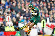 Australia's Johnathan Thurston kicks the penalty during the Ladbrokes Four Nations match between Australia and New Zealand at Anfield, Liverpool, England on 20 November 2016. Photo by Craig Galloway.