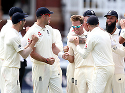 Liam Dawson of England celebrates with teammates after taking the wicket of Kasha Maharaj of South Africa - Mandatory by-line: Robbie Stephenson/JMP - 08/07/2017 - CRICKET - Lords - London, United Kingdom - England v South Africa - Investec Test Series
