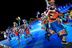 A picture made available on 19 September 2016 of Tibetan children in traditional costumes running on stage during their performance for the opening ceremony of the Third China Tibet Tourism and Culture Expo in Lhasa, Tibet Autonomous Region, China, 10 September 2016. China is heavily promoting tourism in the region as it plans to attract 24 million tourists this year and 35 million by 2020. It opened the weeklong Third China Tibet Tourism and Culture Expo on 10 September 2016 inviting more than 400 overseas guests including ambassadors, diplomats and merchants from all over the world.