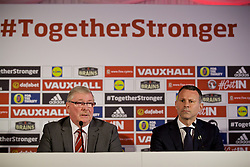 CARDIFF, WALES - Monday, January 15, 2018: FAW President David Griffiths and new Wales national team manager Ryan Giggs during a press conference to announce his appointment at the Hensol Castle. (Pic by David Rawcliffe/Propaganda)