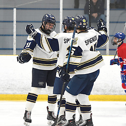 TORONTO, ON - JANUARY 5: Brett Bannister #11 of the Toronto Patriots celebrates the goal with teammates in the third period on January 5, 2019 at Westwood Arena in Toronto, Ontario, Canada.<br /> (Photo by Andy Corneau / OJHL Images)