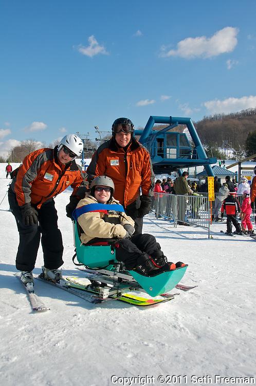 Blue Ridge Adaptive Snow Sports, Matt Edwards with instructors Matt Houston-Ludlam & Leslie White