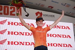 Leigh Ann Ganzar (USA) is crowned the most combative rider on Stage 3 of 2020 Santos Women's Tour Down Under, a 109.1 km road race from Nairne to Stirling, Australia on January 18, 2020. Photo by Sean Robinson/velofocus.com