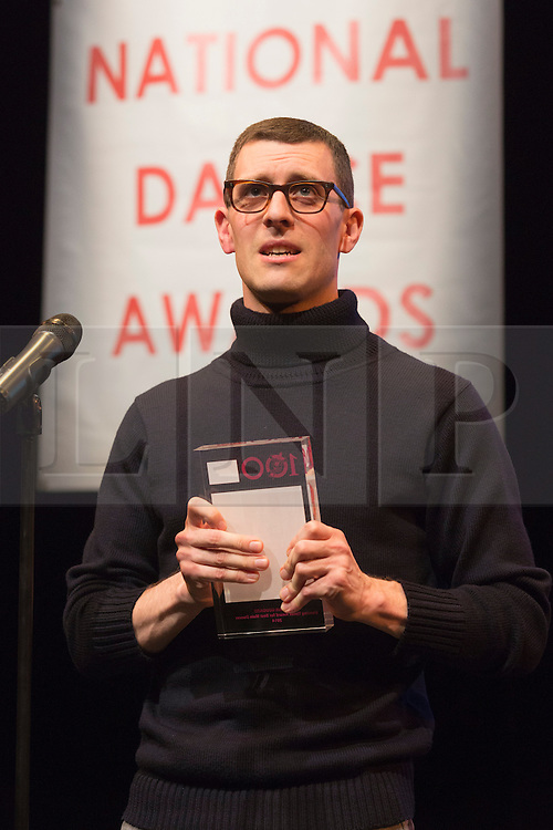 © Licensed to London News Pictures. 26/01/2015. London, England. Jonathan Goddard wins the Outstanding Male Performance (modern) award for his role as Dracula for Mark Bruce Company and the Dancing Times Award for Best Male Dancer. The Critic's Circle National Dance Awards 2014 take place at The Place in London, UK. Photo credit: Bettina Strenske/LNP