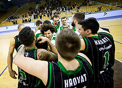 Players of Petrol Olimpija celebrate after winning during basketballl match between KK Petrol Olimpija Ljubljana and KK Partizan NIS mts in Round #20 of ABA League 2017/18, on February 10, 2018 in Tivoli sports hall, Ljubljana, Slovenia. Photo by Vid Ponikvar / Sportida