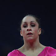 Jordyn Wieber, USA, in action on the floor during the Women's Artistic Gymnastics podium training at North Greenwich Arena during the London 2012 Olympic games preparation at the London Olympics. London, UK. 26th July 2012. Photo Tim Clayton