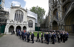 © Licensed to London News Pictures. 20/06/2016. London, UK. Members of Parliament arrive at St Margaret's Church, Westminster Abbey to take part in a Service of Prayer and Remembrance to commemorate Jo Cox MP, who was killed in her constituency on June 16, 2016. Photo credit: Peter Macdiarmid/LNP