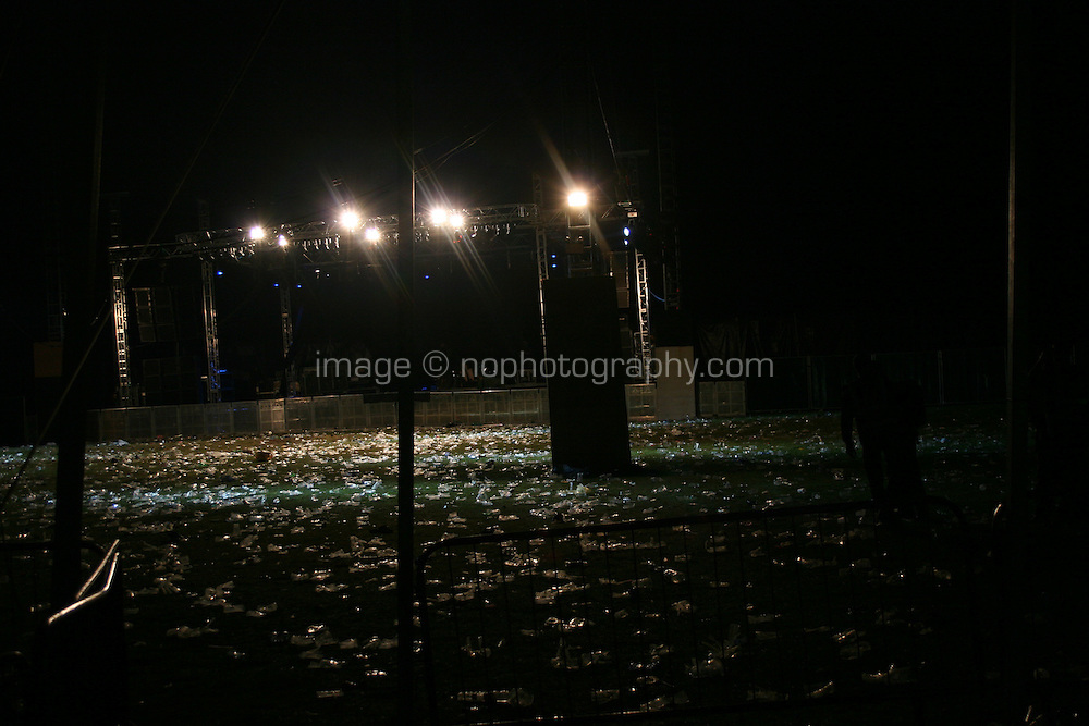 Empty concert tent at night