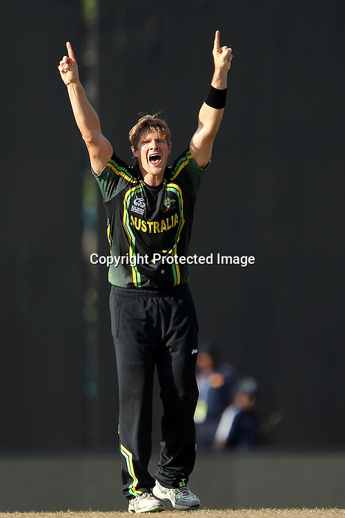 Shane Watson celebrates the wicket of AB de Villiers (Captain) during the ICC World Twenty20 Super 8s match between Australia and South Africa held at the Premadasa Stadium in Colombo, Sri Lanka on the 30th September 2012<br /> <br /> Photo by Ron Gaunt/SPORTZPICS