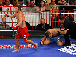 August 2, 2007; East Rutherford, NJ, USA; The Pitbulls Dan Miller (Red Trunks) chokes out the Sabres David Phillips (Blue Trunks) in the first round during their semifinal bout at the Continental Airlines Arena in East Rutherford, NJ.
