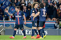 joie PSG / Ezequiel Lavezzi / David Luiz / Edinson Cavani - 23.05.2015 - PSG / Reims - 38eme journee de Ligue 1<br /> Photo : Andre Ferreira / Icon Sport