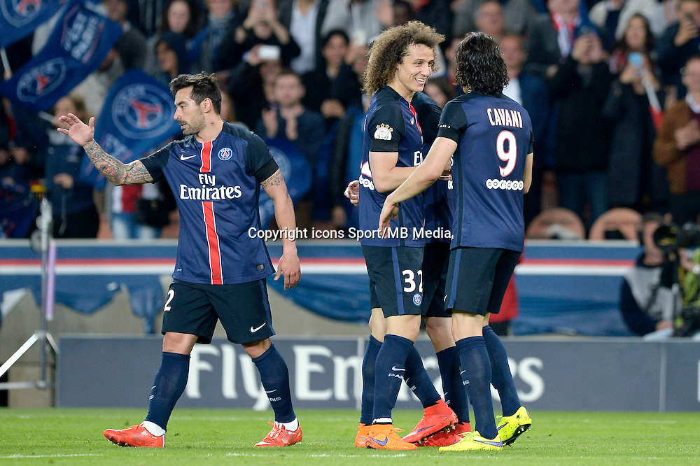 joie PSG / Ezequiel Lavezzi / David Luiz / Edinson Cavani - 23.05.2015 - PSG / Reims - 38eme journee de Ligue 1<br /> Photo : Andre Ferreira / Icon Sport