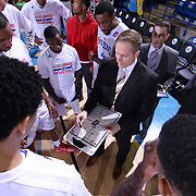 Delaware 87ers Head Coach Kevin Young draws up a play prior to the start of the first half of a NBA D-league regular season basketball game between the Delaware 87ers and the Erie BayHawk (Orlando Magic) Friday, Mar. 27, 2015 at The Bob Carpenter Sports Convocation Center in Newark, DEL.