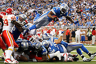 Detroit Lions running back Jahvid Best (44) dive into the end zone for a touchdown in the fourth quarter against the Kansas City Chiefs of an NFL football game in Detroit, Sunday, Sept. 18, 2011. (AP Photo/Rick Osentoski)