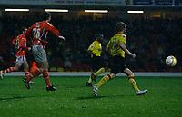 Photo: Richard Lane/Richard Lane Photography. Watford v Blackpool. Coca Cola Championship. 01/11/2008. Alan Gow (L) follows his shot into the net for the late Blackpool winner