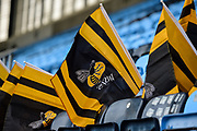 Wasps flags await their owners during the Aviva Premiership match between Wasps and Exeter Chiefs at the Ricoh Arena, Coventry, England on 18 February 2018. Picture by Dennis Goodwin.