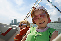 Girl (7-9) on yacht