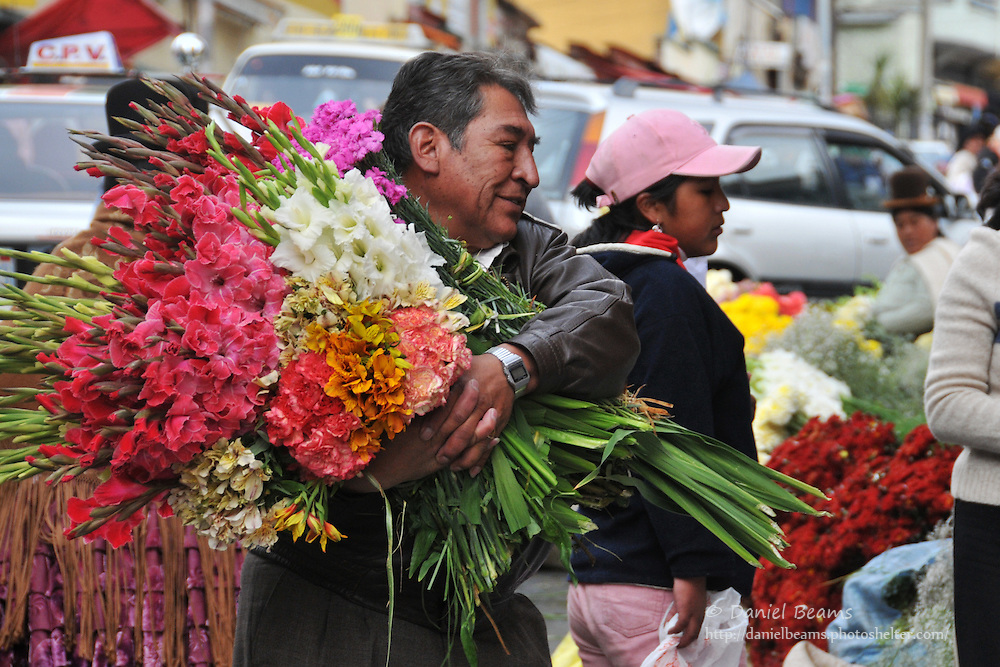 Flower sellers in La Paz, Bolivia