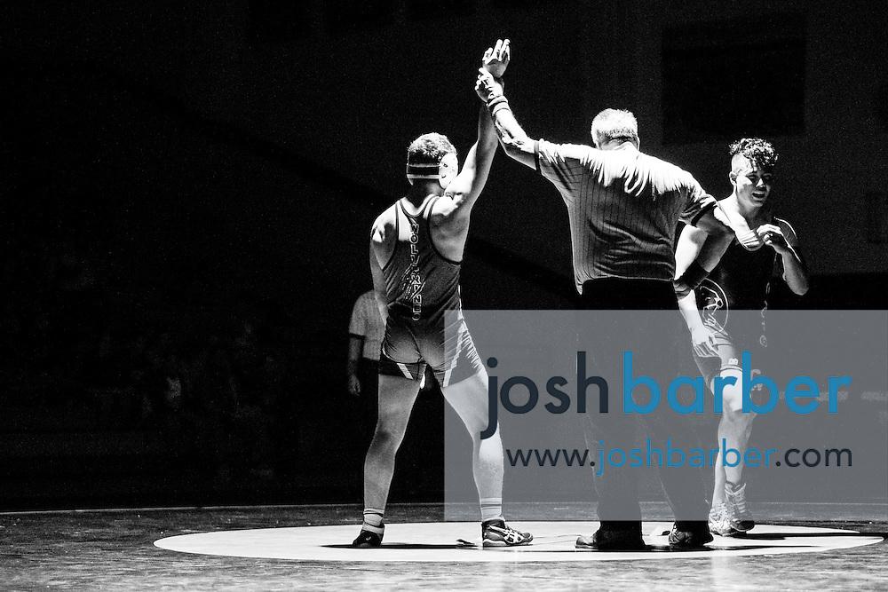 Capistrano Valley's Richard Arriaga, Aliso Niguel's Sam Azar during Sea View league wrestling at Capistrano Valley High School on Thursday, January 14, 2016 in Mission Viejo, California. Capistrano Valley won 43-22. (Photo/Josh Barber)