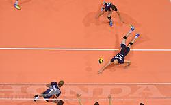 20150619 NED: World League Nederland - Portugal, Groningen<br /> De Nederlandse volleyballers hebben in de World League ook hun eerste duel met Portugal met 3-0 gewonnen / Nimir Abdelaziz #1, Jasper Diefenbach #20, Jeroen Rauwerdink #10