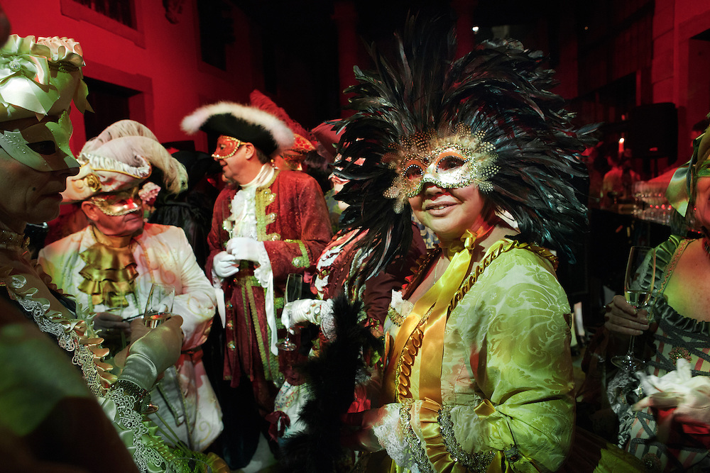 Guests dressed in traditional costume attend the Ballo Tiepolo in the Pisani Moretta palace in Venice during the carnival.