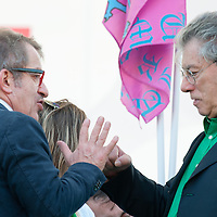 """Roberto Maroni (L) and Umberto Bossi  ( R) joke at today Lega Nord rally  in Venice under the slogan """"Prima Il Nord""""  (North First)  the Lega Nord with its new Secretary Roberto Maroni are trying to go back to their  1996 meeting in Venice with its original federalist credo"""