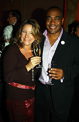 Newsreader DARREN JORDAN and CARIE BOLSOVER at the Pink Ribbon Party - A night of Fashion and Music in aid of 3 cancer charities, Breast Cancer Haven, Cancer Resource Centre and Positive Action on Cancer, held at the Waldorf Hilton Hotel, Aldwych, London on 19th October 2004. <br /><br />MINIMUM REPRODUCTION FEE - SEE OUR WEB SITE<br /><br />NON EXCLUSIVE - WORLD RIGHTS-