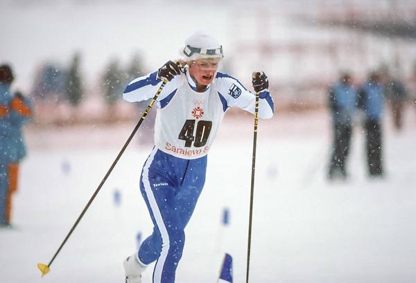 SARAJEVO, YUGOSLAVIA -  FEBRUARY 12:  Marja-Liisa Hamalainen Kirvesniemi of Finland skis in the Women's 5k race of the Cross Country Skiing competition in the 1984 Winter Olympics held on February 12, 1984 at Igman Velko Polje near Sarajevo, Yugoslavia.  Marja-Liisa won the gold medal in all three individual cross country skiing events as well as a bronze medal in the relay event of this Olympics.  (Photo by David Madison/Getty Images) *** Local Caption *** Marja-Liisa Hamalainen