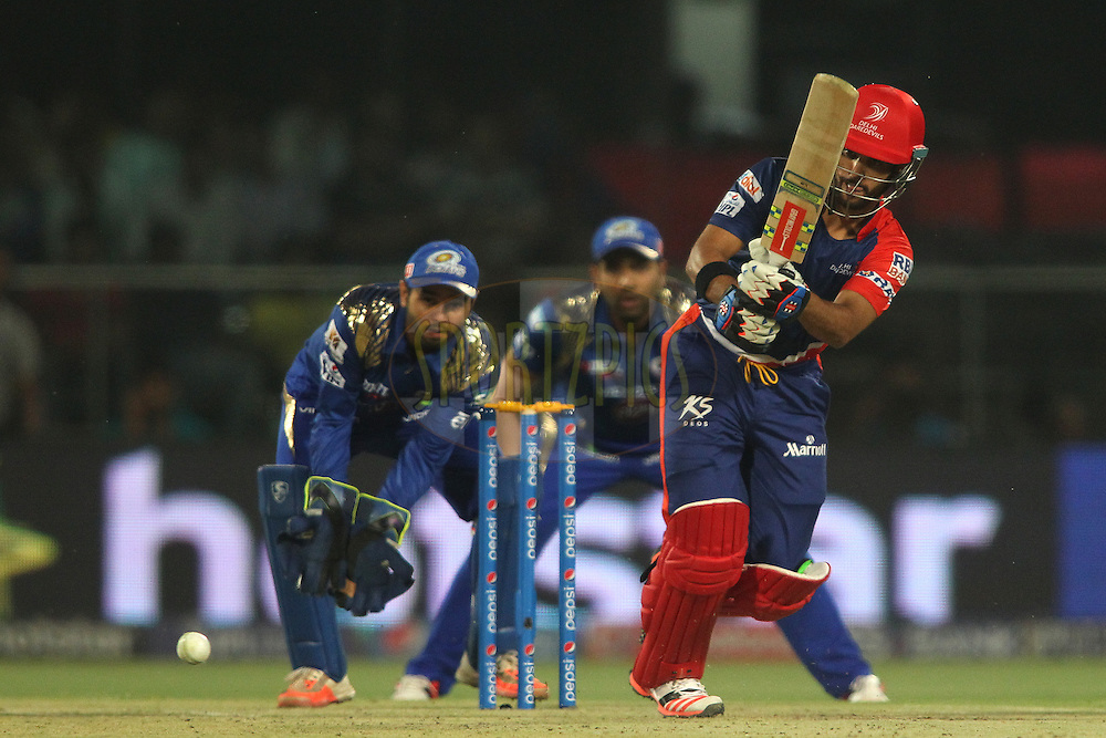 Delhi Daredevils captain Jean-Paul Duminy plays a delivery through the leg side during match 21 of the Pepsi IPL 2015 (Indian Premier League) between The Delhi Daredevils and The Mumbai Indians held at the Ferozeshah Kotla stadium in Delhi, India on the 23rd April 2015.<br /> <br /> Photo by:  Shaun Roy / SPORTZPICS / IPL