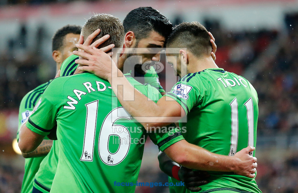Dusan Tadic (r) of Southampton celebrates scoring the opening goal with Graziano Pelle (c) during the Barclays Premier League match at the Stadium Of Light, Sunderland<br /> Picture by Simon Moore/Focus Images Ltd 07807 671782<br /> 07/11/2015