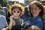 Brooklyn, N.Y.  The wedding ceremony of Christine Neve and Vincent Brace at Saints Simon and Judes R.C. Church on Ave T.  Annabella Colavito 2 blowing bubbles with her mother Jennifer after the ceremony....