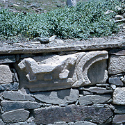 Late Summer? 1965<br /> Fragment of decorated marble pirated from older Muslim or Hindu Structures used here for wall around plots of modern Muslim graves.