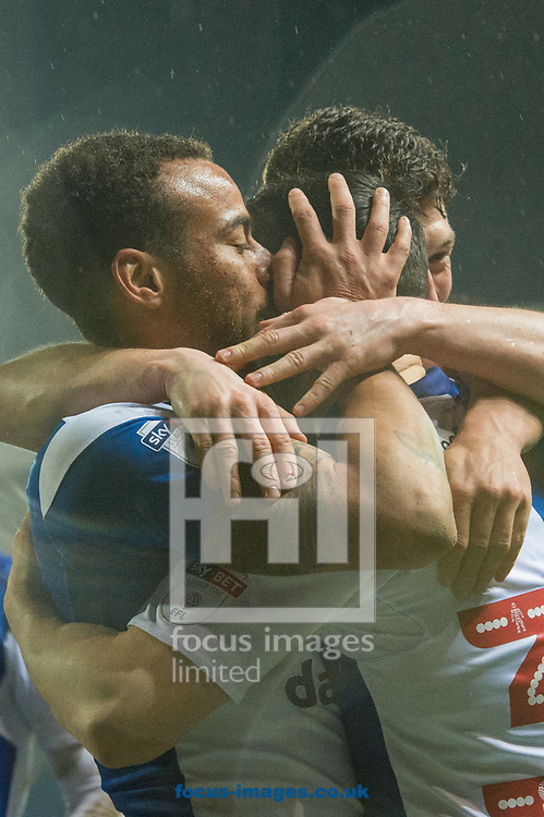 Elliott Bennett of Blackburn Rovers kisses Craig Conway after he scores his sides second goal during the Sky Bet League 1 match at Ewood Park, Blackburn<br /> Picture by Matt Wilkinson/Focus Images Ltd 07814 960751<br /> 29/03/2018