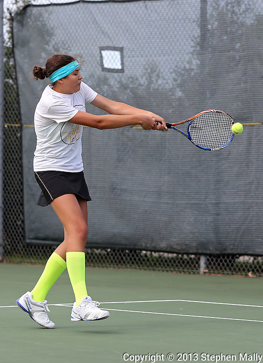 Iowa City West's Megan Jans returns the ball during the Class 2A state team tennis tournament at Veterans Memorial Tennis Center in Cedar Rapids on Saturday, June 1, 2013.