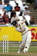 Michael Clarke drives a four to reach his 150 runs during the 2nd day of the 1st test match between South Africa and Australia held at Sahara Park Newlands Stadium,Cape Town, South Africa on the 10th November 2011..Photo by Ron Gaunt/SPORTZPICS