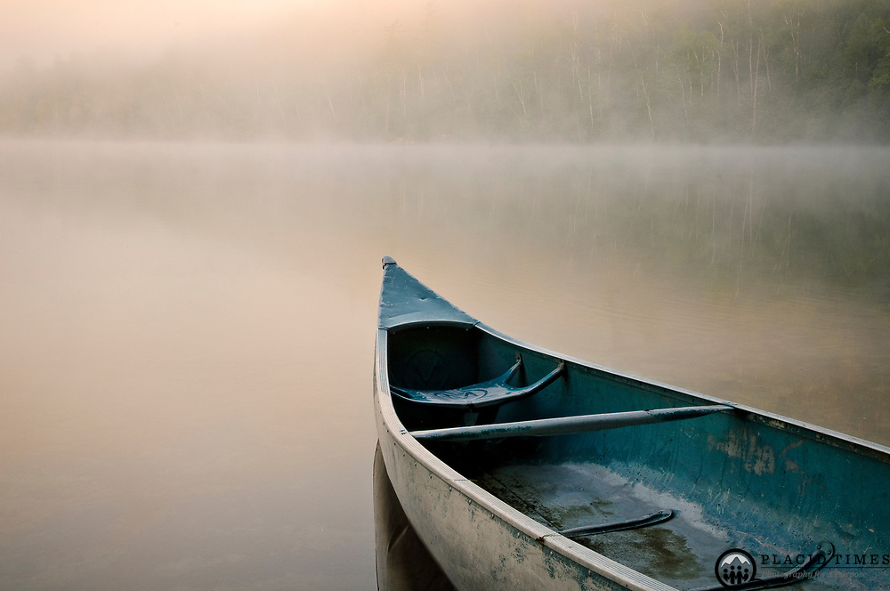 August 2008, Heart Lake, Canoe in Mist
