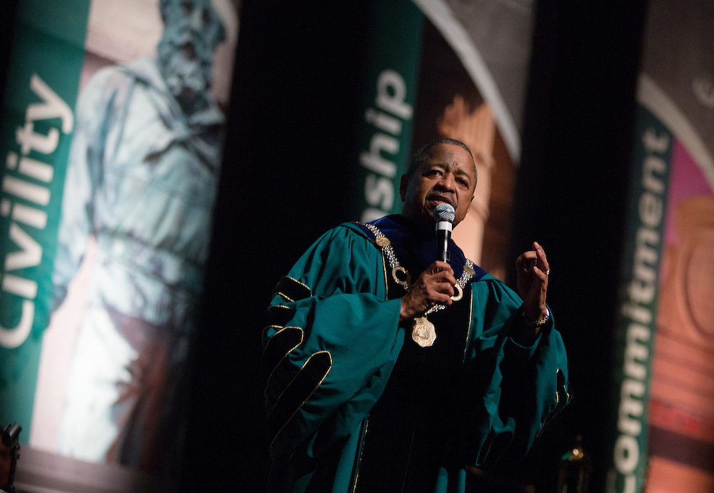 Ohio University President Roderick McDavis addresses incoming freshmen during the New Student Convocation on Aug. 24, 2014. Photo by Lauren Pond