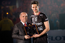 Lukasz Zygadlo of Trentino at final ceremony after the  final match of CEV Indesit Champions League FINAL FOUR tournament between Dinamo Moscow, RUS and Trentino BetClic, ITA on May 2, 2010, at Arena Atlas, Lodz, Poland. Trentino defeated Dinamo 3-0 and became Winner of the Champions League. (Photo by Vid Ponikvar / Sportida)