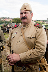 "A Re-enactor portrays a Soviet soldier from the Russian 13th Guards Rifle Division ""Poltavaskaya"" during the ""Spam 1940s Wartime Weekend"" at the Ponderosa in Heckmondwike <br />