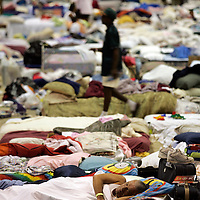 SHREVEPORT, LA - September 2, 2005:  Evacuees from Hurricane Katrina take shelter inside a sports complex in Shreveport, LA on Sept. 2, 2005. (Photo by Todd Bigelow/Aurora)