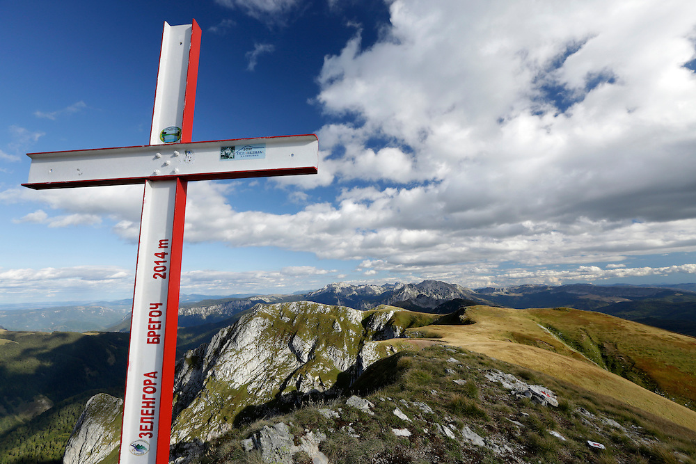 A cross on the Zelengora / Bregoc summit, 2014m, Sutjeska National Park, Bosnia and Herzegovina.