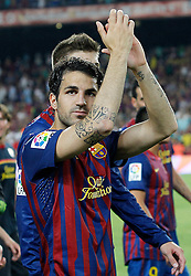 17.08.2011, Camp Nou, Barcelona, ESP, Supercup 2011, FC Barcelona vs Real Madrid, im Bild FC Barcelona's Cesc Fabregas celebrate the victory during Spanish Supercup 2nd match.August 17,2011. EXPA Pictures © 2011, PhotoCredit: EXPA/ Alterphotos/ Acero +++++ ATTENTION - OUT OF SPAIN / ESP +++++
