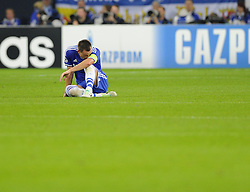 Chelsea's John Terry sits injured - Photo mandatory by-line: Joe Meredith/JMP - Tel: Mobile: 07966 386802 22/10/2013 - SPORT - FOOTBALL - Veltins-Arena - Gelsenkirchen - FC Schalke 04 v Chelsea - CHAMPIONS LEAGUE - GROUP E
