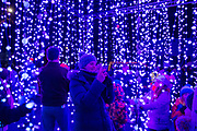 People enjoying the 'Submergence' installation by Squid Soup as part of Cheriton Light Festival 2018 on Cheriton High Street, Folkestone, Kent, United Kingdom.  (photo by Andrew Aitchison / In pictures via Getty Images)