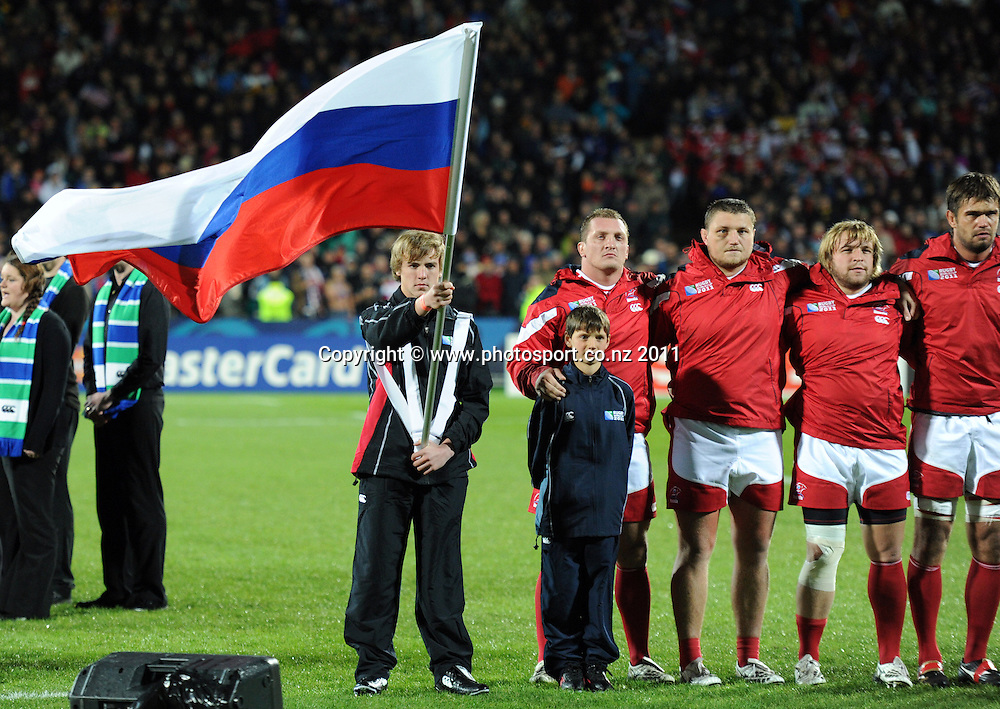 Russian Flag Bearer at the USA v Russia Pool C match of the 2011 IRB Rugby World Cup. Stadium Taranaki, New Plymouth. New Zealand. Thursday 15 September 2011. Photo: Andrew Cornaga / Photosport.co.nz