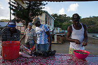 Anse La Raye, Saint Lucia: Fishermen prepare their catch for sale at local markets.