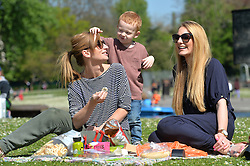 (l-r) Sophie Gould, George Rooney and Beth Lloyd enjoy a picnic in the hot spring weather in London's Regent's Park.<br /> Wednesday, 16th April 2014. Picture by Ben Stevens / i-Images