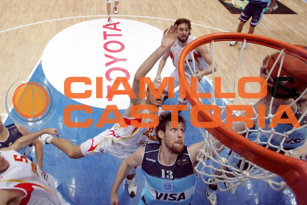 DESCRIZIONE : Saitama Giappone Japan Men World Championship 2006 Campionati Mondiali Semifinal Spain-Argentina <br /> GIOCATORE : Jimenez Nocioni <br /> SQUADRA : Spain Spagna <br /> EVENTO : Saitama Giappone Japan Men World Championship 2006 Campionato Mondiale Semifinal Spain-Argentina <br /> GARA : Spain Argentina Spagna Argentina <br /> DATA : 01/09/2006 <br /> CATEGORIA : Special Sponsor Toyota <br /> SPORT : Pallacanestro <br /> AUTORE : Agenzia Ciamillo-Castoria/M.Ciamillo <br /> Galleria : Japan World Championship 2006<br /> Fotonotizia : Saitama Giappone Japan Men World Championship 2006 Campionati Mondiali Semifinal Spain-Argentina <br /> Predefinita :